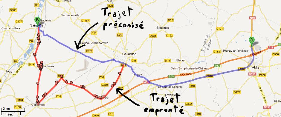 Comparatif d'itinéraires pour Saint-Piat