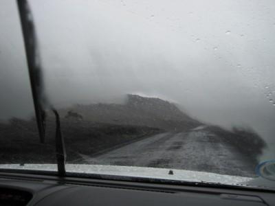 Trombes de pluie, en voiture
