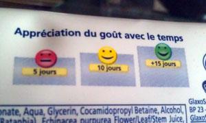 Appréciation du goût de Parodontax avec le temps : berk, bof, miam.