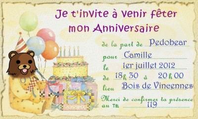 Carte d'invitation à l'anniversaire de Pedobear