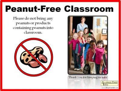 Affiche interdisant les cacahuètes en classe