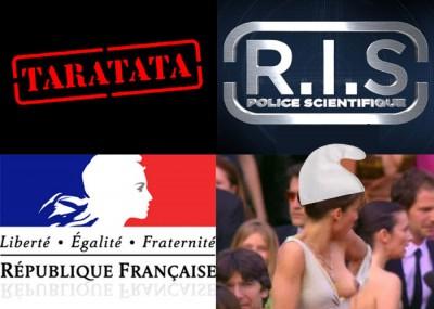Représentations picturales de ce qui se passe dans ma tête en voyant le logo de RIS, Sophie Marceau étant le modèle officiel de Marianne depuis 2012.