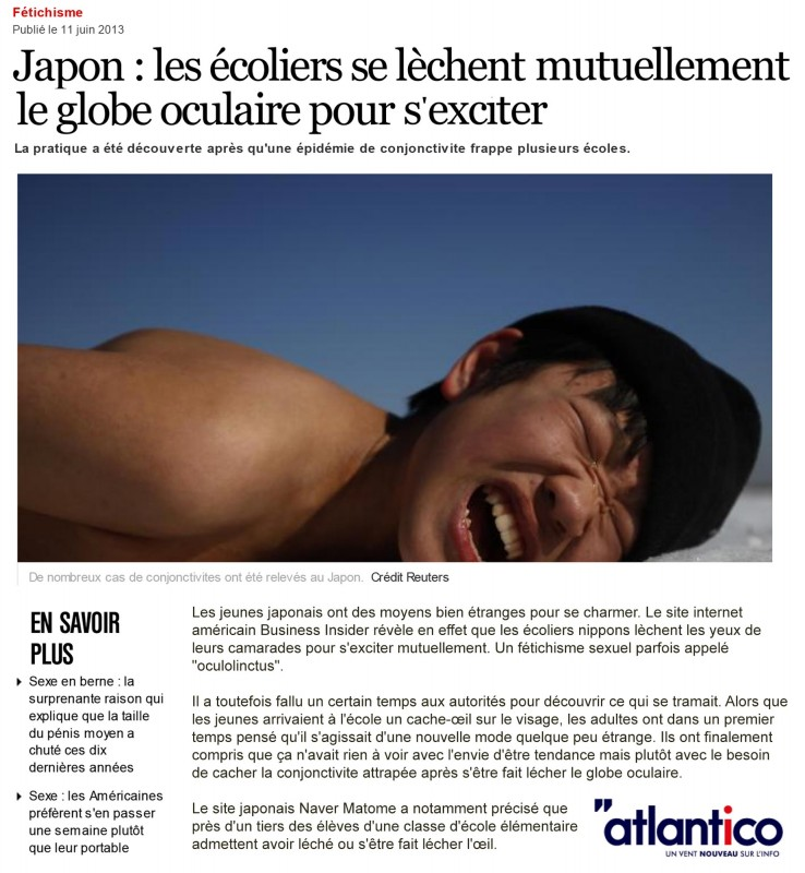 Japon : les écoliers se lèchent mutuellement le globe oculaire pour s'exciter