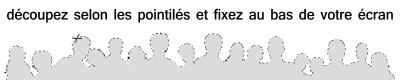 silhouette de foule à découper pour fixer au bas de votre écran.