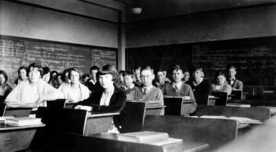 Salle de classe à Dumbar (Canada) en 1930