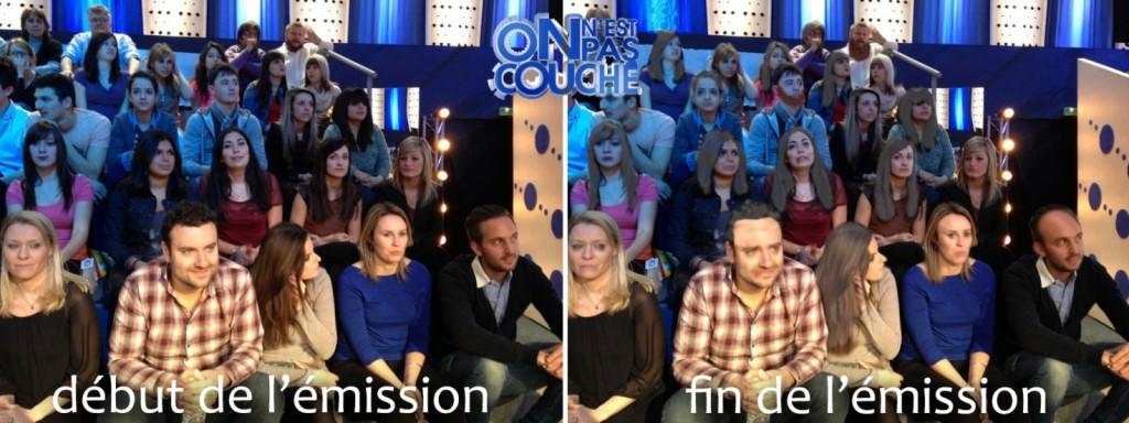 Le public d'On n'est pas couché, au début et à la fin de l'enregistrement de l'émission.