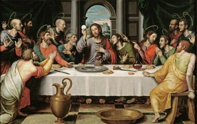 Jésus brandissant un préservatif enroulé devant ses apôtres