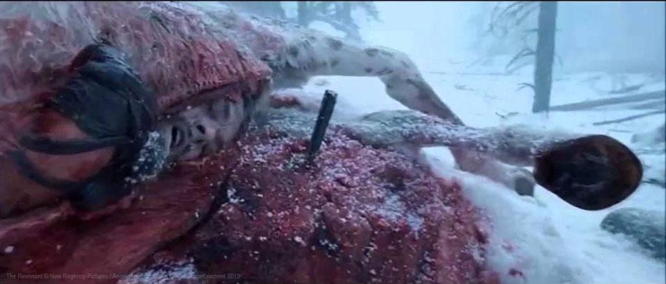Léonardo DiCaprio recherchant la chaleur à l'intérieur du cadavre d'un cheval dans The Revenant en 2015